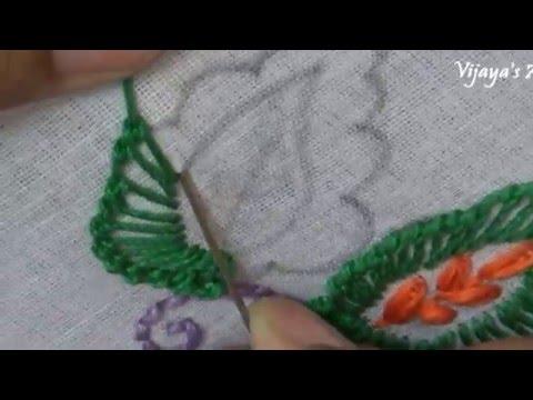 Beautiful Hand Embroidery Work Designs 90 Leaf Stitch Youtube
