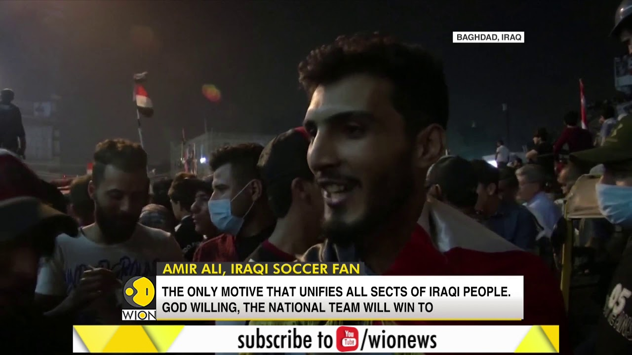 Iraqi soccer team supporters gathered in Baghdad amid anti-government protests