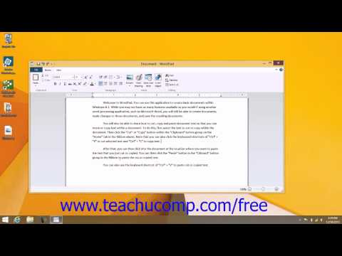 Windows 8.1 Tutorial Copying and Pasting Text Microsoft Training Lesson 7.2 from YouTube · Duration:  2 minutes 16 seconds