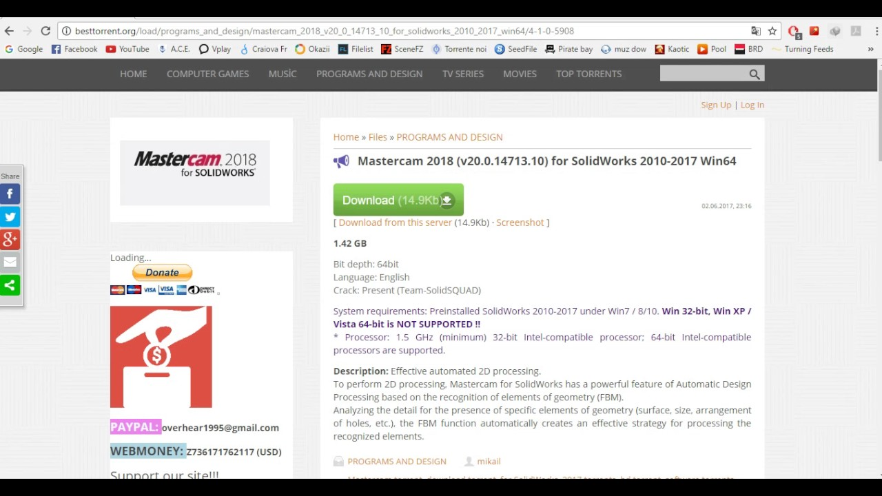 Mastercam 2018 for SolidWorks 2010-2017 download