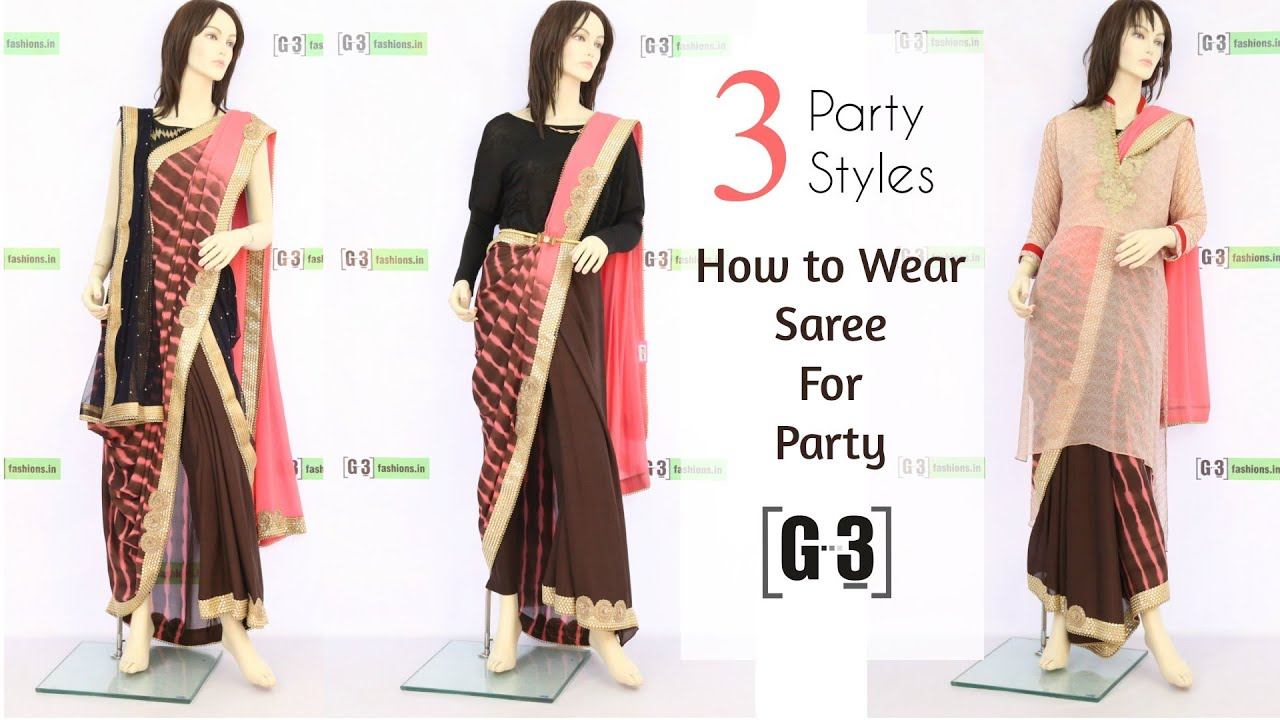 How to wear a saree for party in 3 different styles g3fashion how to wear a saree for party in 3 different styles g3fashion youtube ombrellifo Choice Image