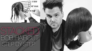 Layered Stacked Bob Haircut - How To Cut A Layered Stacked Bob - Step By Step - Q & Haircut