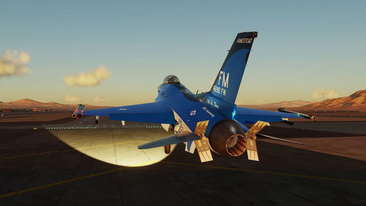 Sunset F 16 ride at Nellis AFB with a touch and go on runway 3L