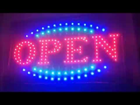 Tattoo XL Lichtreclame LED Neon verlichting Lichtbak OPEN bord - YouTube