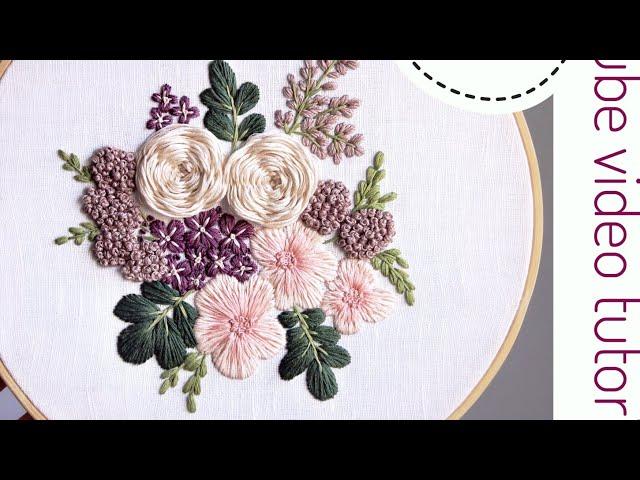 Purple rain pattern. Embroidery for beginners