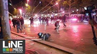 La fête vire aux incidents sur les Champs Élysées - CM2018 / Paris - France 10 juillet 2018
