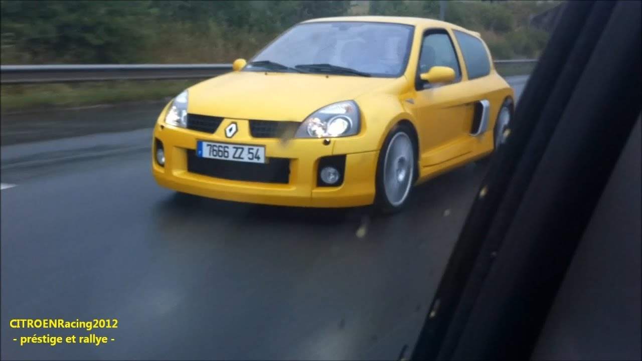 renault sport clio ii v6 rs phase 2 jaune sirius 3 0 255 cv on the highway hd youtube. Black Bedroom Furniture Sets. Home Design Ideas