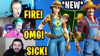Streamers React to *NEW* 'Sunflower' & 'Hayseed' Skins + 'Gold Digger' Pickaxe! | Fortnite