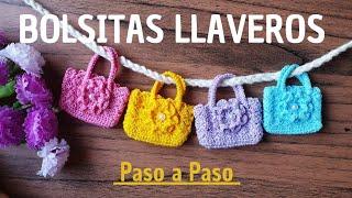 🌷 Como tejer Mini Bolsitas Llaveros paso a paso, Cordón Rumano (Ideas para vender o regalar)