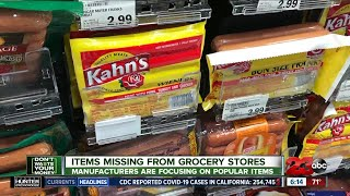 Items missing from grocery stores