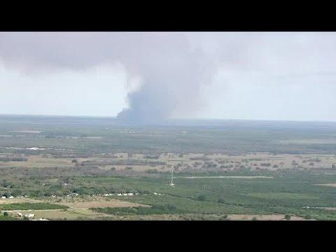 Eagle 8 HD over scene of Polk County brush fire - Indian Lake Estates