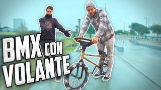 CREAMOS UNA BMX CON VOLANTE DE COCHE! - Me caigo probándola...