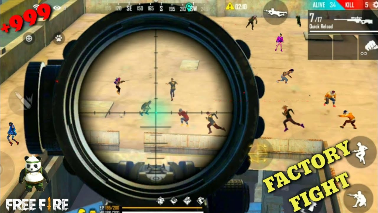 Free Fire best sniping place – FF fist fight in factory booyah /factory roof king [Garena free fire]