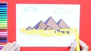 How to draw and color the Great Pyramids, Giza, Egypt
