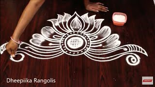 Creative lotus freehand kolam rangoli design l small daily rangolis l rangavalli muggulu