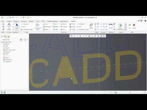 How to create Letter engraving on curved/cylindrical surface in CREO Parametric
