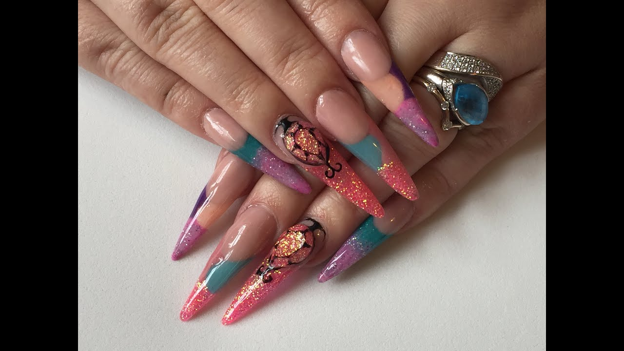 Acrylic nails - extra long sculpted nails using jewellery mold from ...