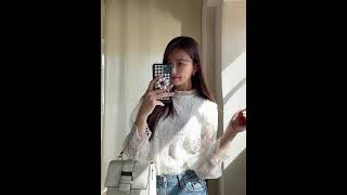 CHUU X CELEB SHOPPER 서지 룩북 - 쥬얼리 레이스 blouse
