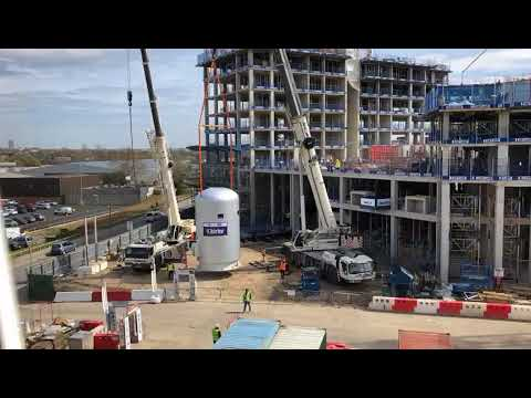 Installation of two thermal store vessels for the Energy Centre at Wembley