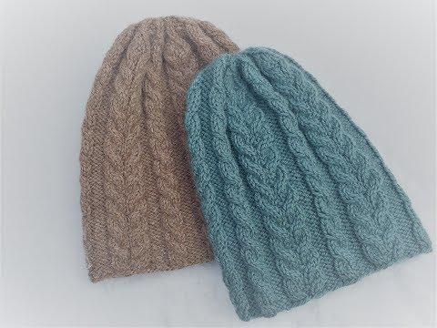 Как связать женскую шапку с косами спицами