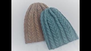 Как связать спицами женскую шапку на р.56-58 . Шапка с косами . Вяжем вместе . МК.