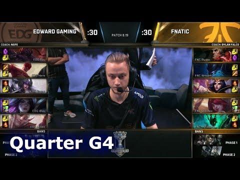 FNC vs EDG Game 4 | Quarter Final S8 LoL Worlds 2018 | Fnatic vs Edward Gaming G4