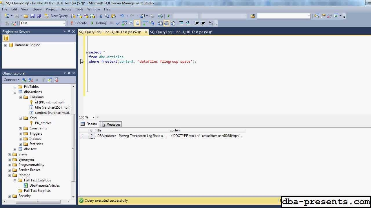 Full-Text Search in SQL Server 2012 - practical introduction