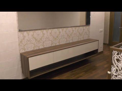 Подвесная мебель видео №1. Подвесная тумба без ручек на заказ, зеркало в раме Киев