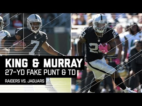 Punter Marquette King Converts Fake Punt on 4th & 24 to Set Up Murray TD! | Raiders vs. Jags | NFL