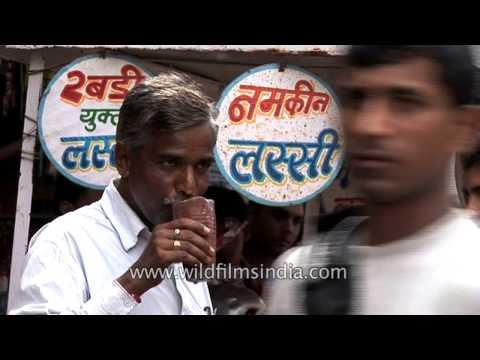 Namkeen salted and Rabri Lassi or sweet yoghurt drinks sold on Indian streets
