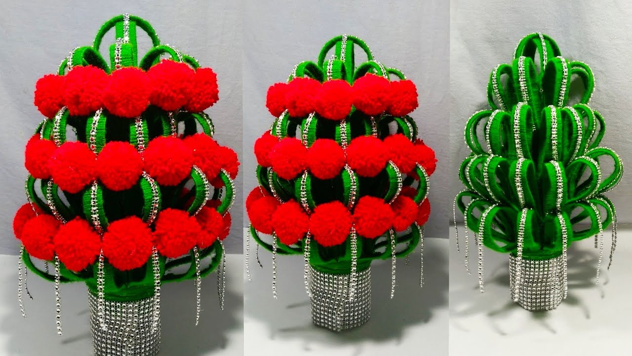 Diy New Design Woolen Guldasta Waste Plastic Bottle Guldasta New