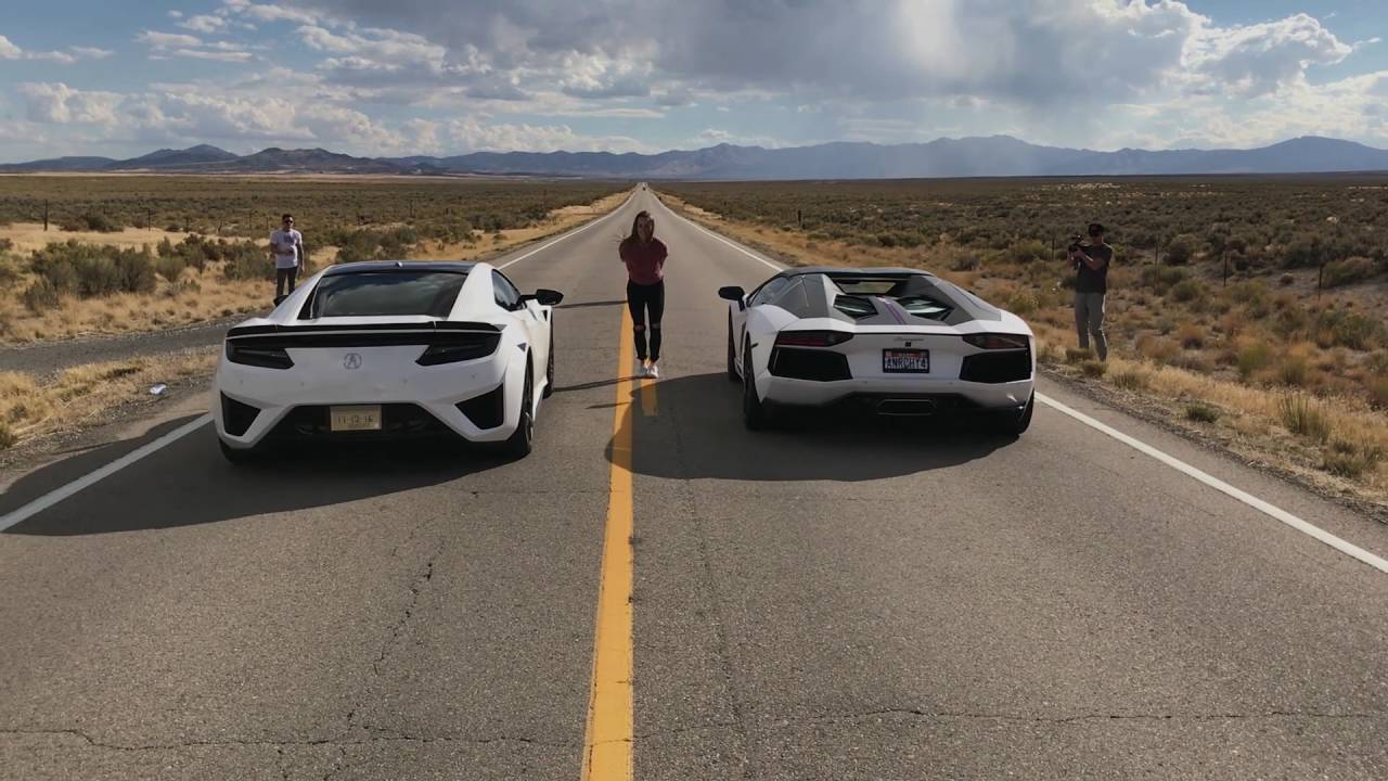 Acura Exotic Car >> Acura NSX VS Lamborghini Aventador Pirelli Edition - YouTube
