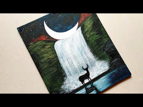 Easy Waterfall Landscape Painting with Deer tutorial for beginners| Step by step Waterfall landscape