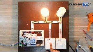 Pendawaian dua  lampu dengan dua suis