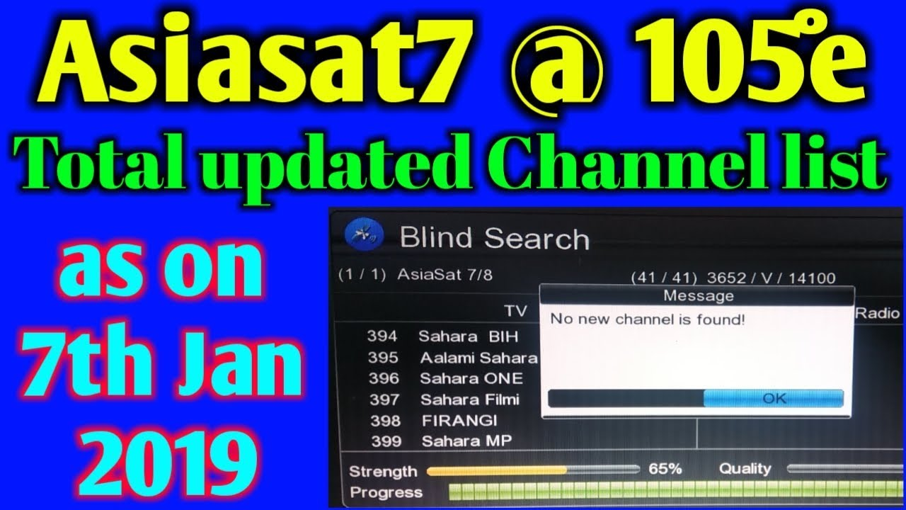 Asiasat7 105e Updated channel list as on 7 Jan 2019