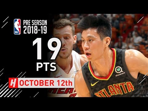 Jeremy Lin Full Highlights Hawks vs Heat 2018.10.12 - 19 Points off the Bench!