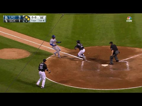 LAD@CWS: Hanson throws out Puig at the plate