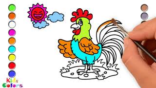 Learn how to draw and color a rooster and the sun-Kids Colors