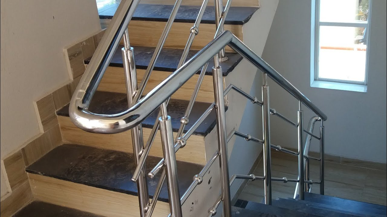 20 × 30 House Stainless Steel Hand Railing For Steps Ss Youtube   Steel Ladder Design For Home   Wrought Iron   House   Residential   Interior   Contemporary