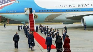 Goodbye Obama: Former President Obama Departing from Washington on Presidential Aircraft VC-25