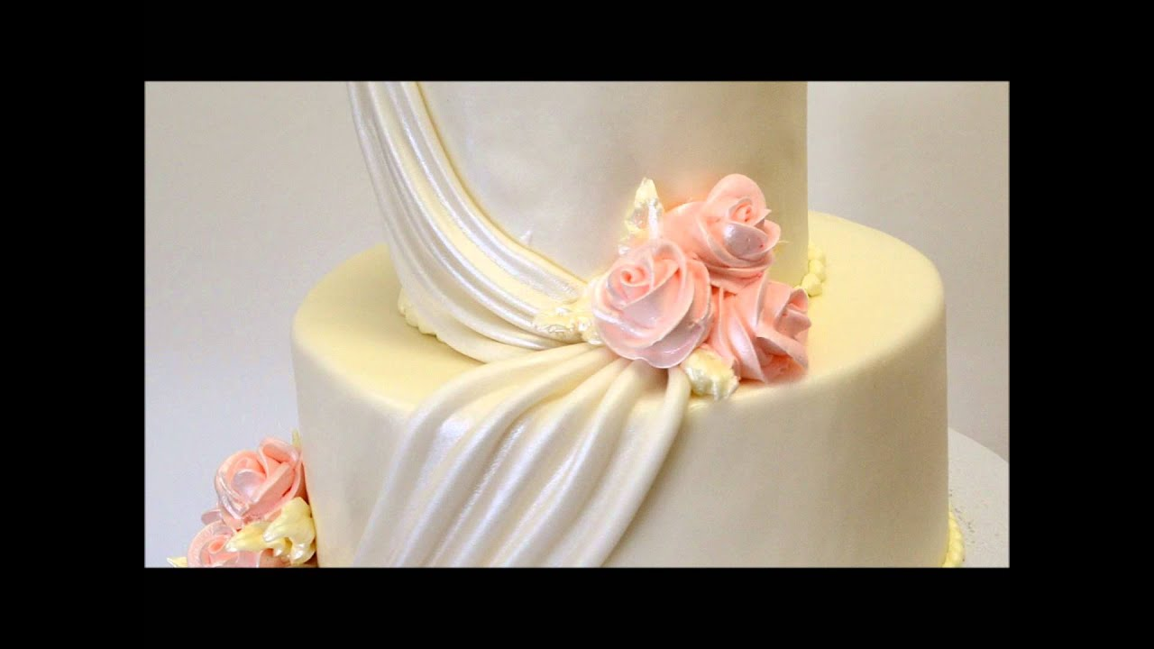 Peach Theme Wedding Cake Two Tier