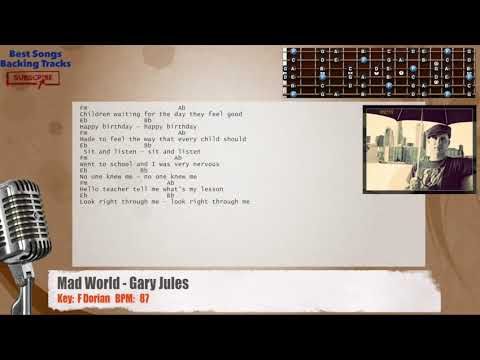 Mad World - Gary Jules Guitar Backing Track with chords and lyrics ...