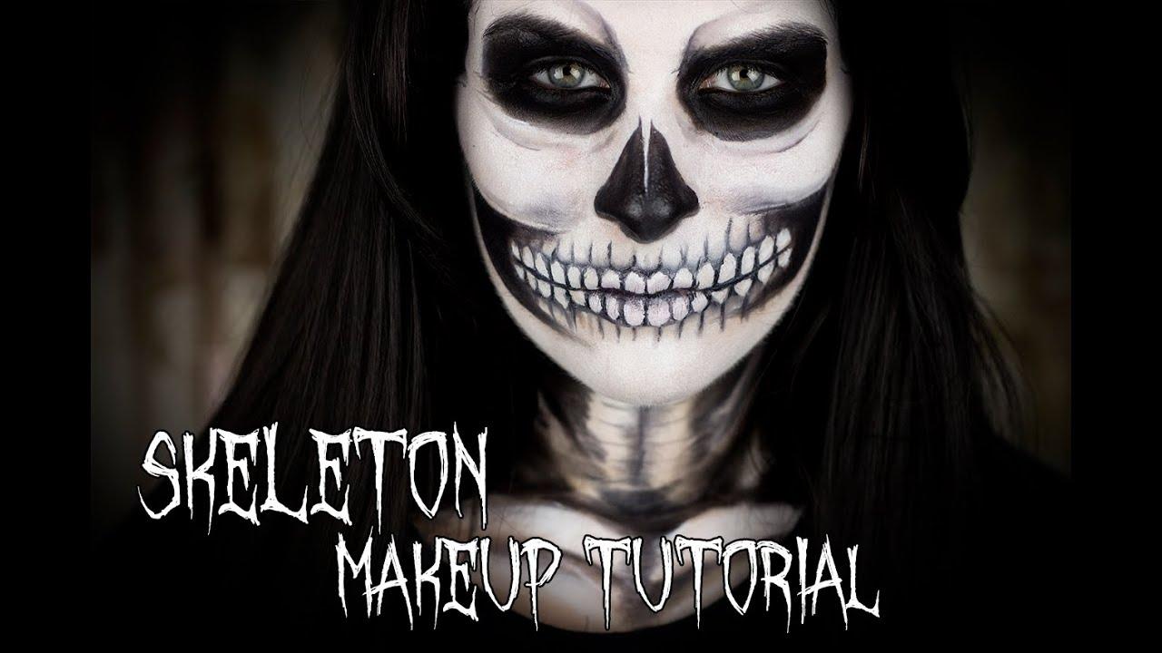 HALLOWEEN!!!! Skeleton Makeup Tutorial - YouTube