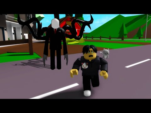 Running away from Slender Man in Roblox BrookHaven