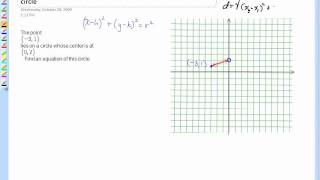 writing an equation of a circle given its center and a point on the circle wmv