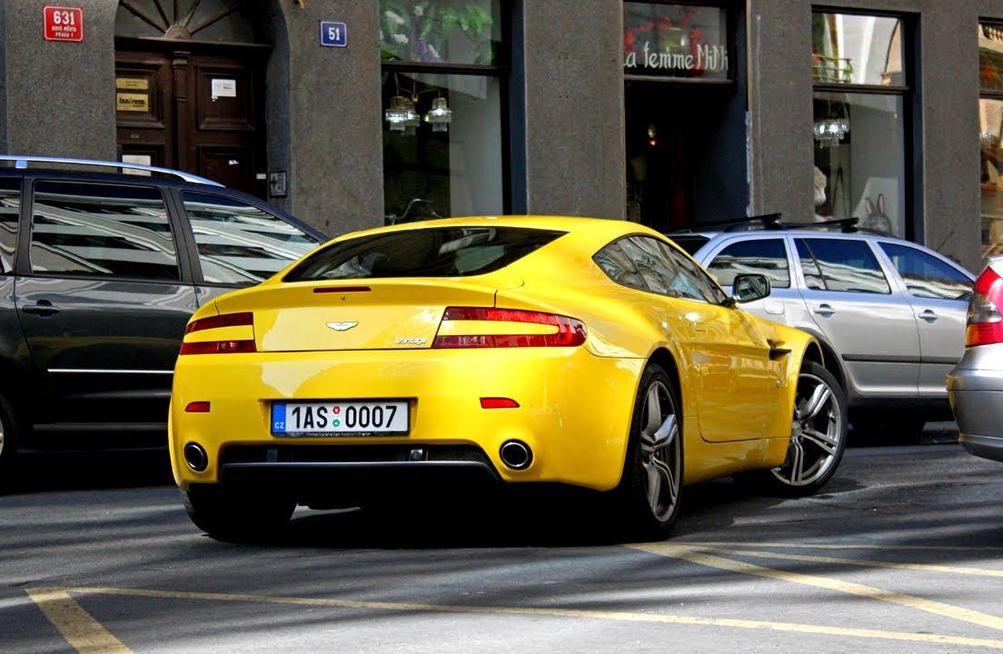 Nissan 350z And Yellow Aston Martin V8 Vantage In Prague Youtube