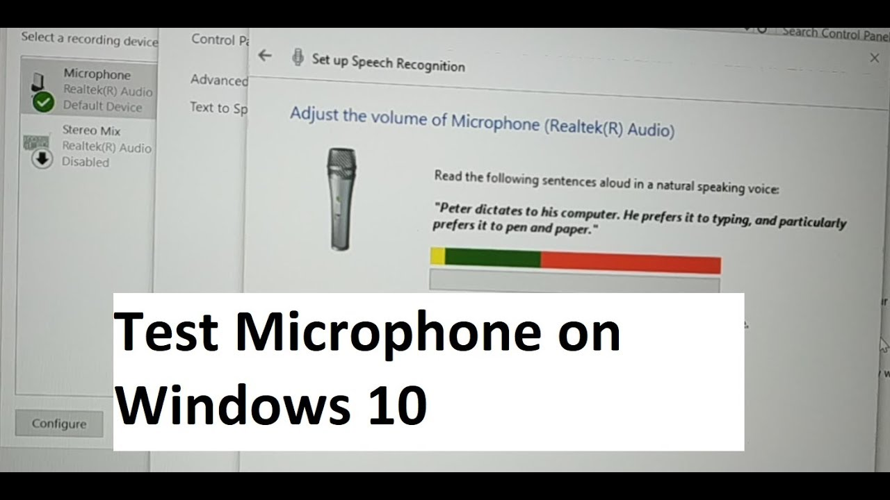 How To Test A Microphone On Windows 10 Working Or Not Sound Recording Or Not Youtube