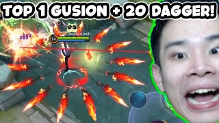 Top 1 Gusion + 20 Dagger (Mayhem) = ??? - Mobile Legends