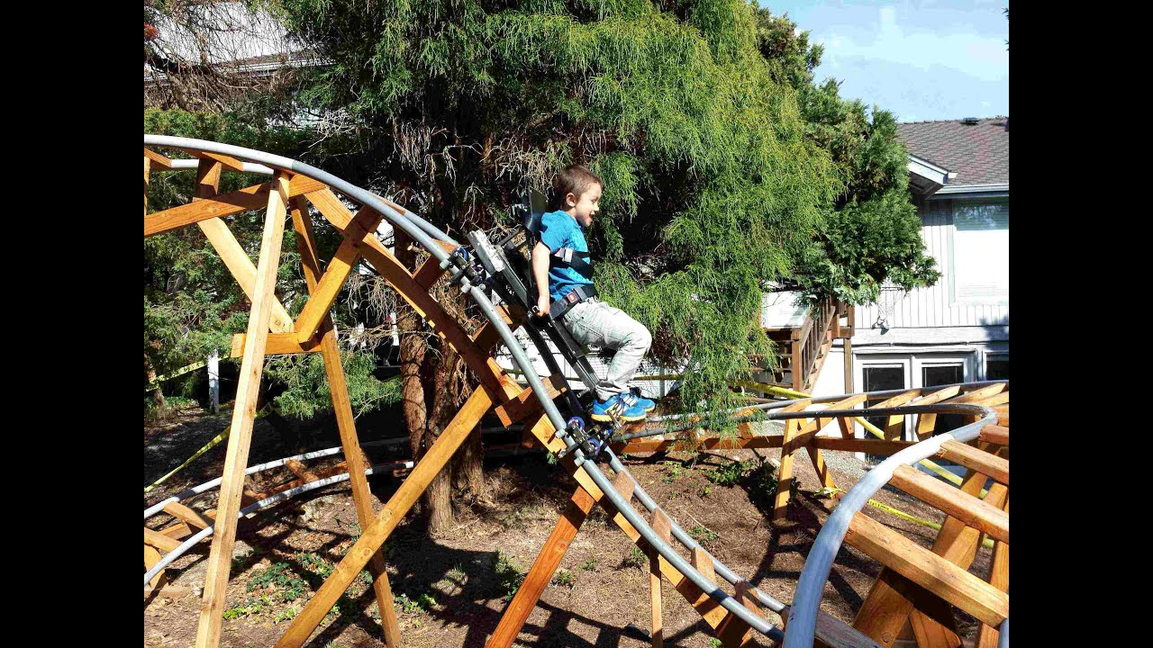 Bon Rio On 3D 02 Backyard Roller Coaster Track, Riding New 3D 07 Cart