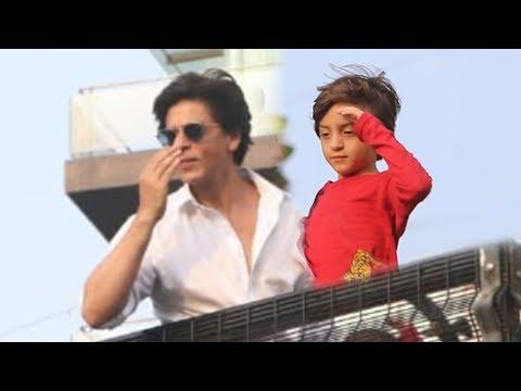 Shahrukh Khan & His Son AbRam Khan GREETING Fans On Eid Outside Mannat Will Melt U